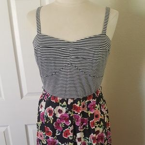 Vintage Torrid stripe floral tank sun dress 1x